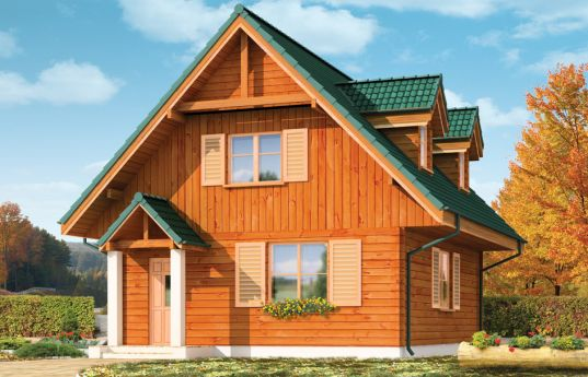 House plan D03 wooden Gregory - front visualization