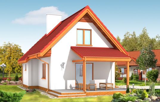 House plan Okruszek - rear visualization