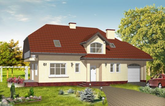 House plan Cheerful 3 - front visualization