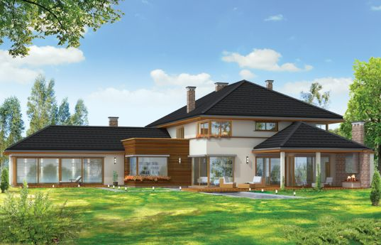 House plan Villa with pool - rear visualization