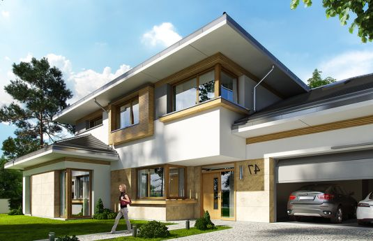 House plan Peaceful corner - front visualization 4
