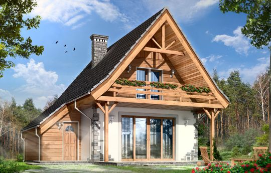 House plan Cottage 2 - front visualization